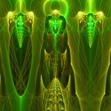 与不同和许多形状的绿色抽象分数维墙纸 免版税库存照片