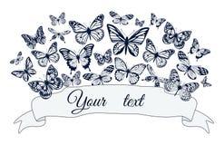 与不同的大小蝴蝶剪影的海报  也corel凹道例证向量 库存照片