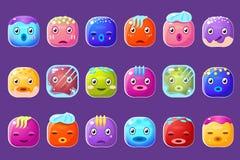 与与冻结的边缘的五颜六色的按钮意思号汗水铺石和下落导航例证,滑稽的emoji字符 库存例证