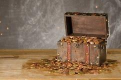 与与欧洲硬币的宝物箱 免版税库存图片