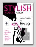 与与黑发的抽象妇女剪影和与狗的桃红色手套在流行艺术样式 时装杂志盖子设计 免版税库存图片