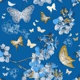 与与蝴蝶的无缝的样式 皇族释放例证