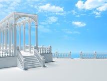 与专栏、楼梯和曲拱的楼梯栏杆在堤防3 库存例证