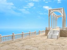 与专栏的楼梯栏杆,楼梯和曲拱在海3D附近ren 库存例证