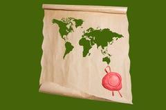 与世界地图图画的纸莎草和封印 库存照片