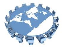 与世界地图的会议桌 免版税库存图片