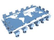 与世界地图的会议桌 库存图片