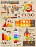 与世界地图的减速火箭的颜色Infographics元素。 库存图片