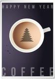 与世界地图的咖啡杯在背景,顶视图。 免版税库存照片