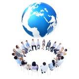 与世界地图的国际业务会议 免版税库存图片