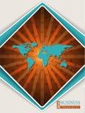 与世界地图的抽象橙色绿松石小册子 免版税图库摄影