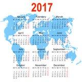 与世界地图的日历2017年 在星期一,星期起始时间 免版税库存照片