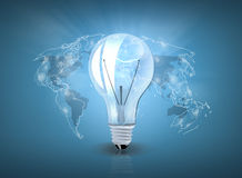 与世界地图的电灯泡 图库摄影