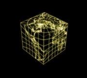 与世界地图的立方体地球 免版税图库摄影