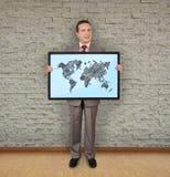 与世界地图的等离子 库存图片