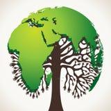 与世界地图的绿色结构树设计 免版税图库摄影
