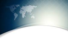 与世界地图的蓝色波浪技术背景 免版税库存照片