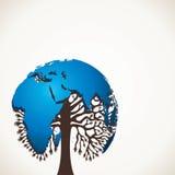 与世界地图的蓝色结构树设计 库存照片
