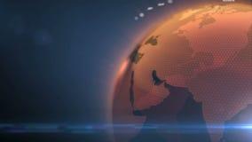 与世界地图的转动的地球 向量例证