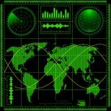 与世界地图的雷达网 免版税库存照片