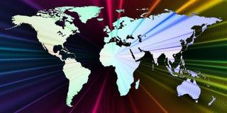 与世界地图,抽象波浪,线的五颜六色的3d背景 明亮的颜色曲线,漩涡 行动设计 五颜六色 免版税库存图片