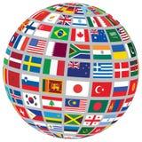 与世界旗子的球形 库存照片