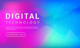 与世界线光线影响的数字技术横幅紫色蓝色背景概念 向量例证