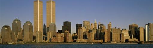 与世界贸易塔的纽约地平线 库存照片