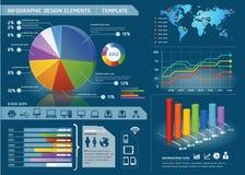 与世界mapใ的五颜六色的Infographic元素 图库摄影