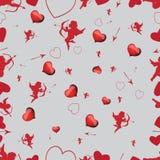 与丘比特和心脏的无缝的样式 向量设置了1 库存照片