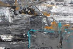 与丙烯酸漆的黑白色抽象 免版税图库摄影