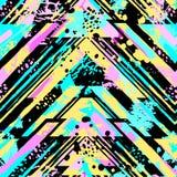 与丙烯酸酯污点和scrat的抽象无缝的几何样式 免版税图库摄影