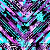 与丙烯酸酯污点和scrat的抽象无缝的几何样式 免版税库存照片