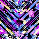 与丙烯酸酯污点和scrat的抽象无缝的几何样式 库存照片