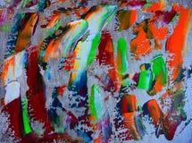 与丙烯酸酯的颜色的艺术抽象油漆 库存照片