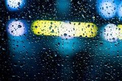 与丛的汽车玻璃雨 库存图片