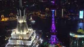 与东方珍珠和浦东摩天大楼的上海地平线 影视素材