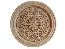 与东方装饰品的圆的被雕刻的石头 免版税图库摄影