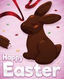 与丝带和五彩纸屑,传染媒介例证的可口复活节巧克力兔宝宝 向量例证
