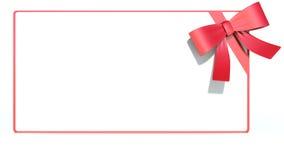 与丝带和弓的空白礼品看板卡 文本的空间 免版税库存图片