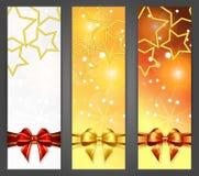 与丝带和星形的圣诞节横幅 库存照片