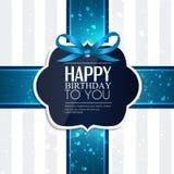 与丝带和生日文本的生日贺卡 免版税库存图片