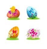 与丝带和花的五颜六色的复活节彩蛋 向量例证