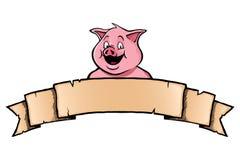 与丝带横幅的猪 图库摄影
