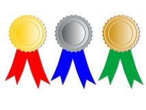 与丝带的三枚奖牌 免版税库存图片