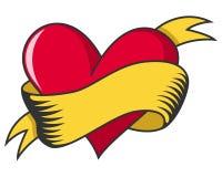与丝带的华伦泰s天减速火箭的心脏 免版税库存照片