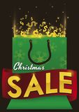 与丝带的发光的礼物袋子圣诞节销售的晒干,导航例证 向量例证
