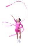 与丝带的可爱的小的体操运动员跳舞 免版税库存图片