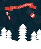 与丝带的圣诞快乐垂悬对此的风景和mittes 向量例证