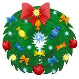 与丝带的圣诞节被隔绝的花圈和弓 库存图片
